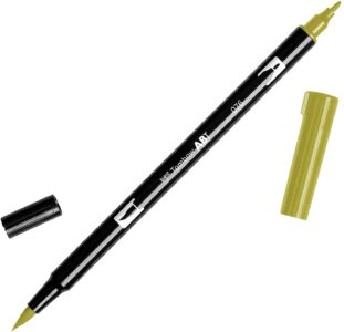 Tombow Dual Brush Pen 076 Green Ochre