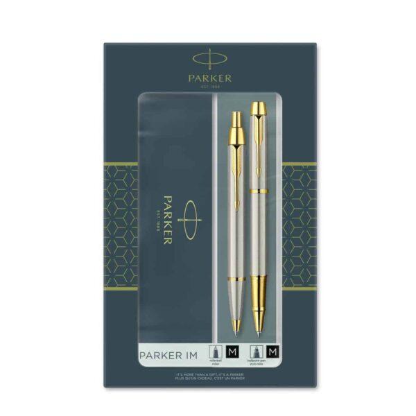 Parker IM Brushed Metal GT Roller and Ballpoint Pen Set